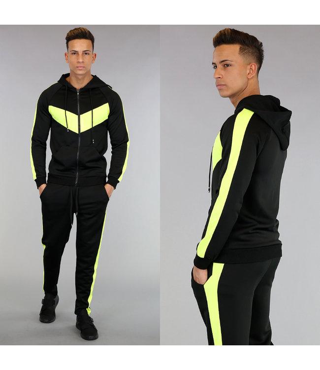 NEW! Zwart Joggingpak met Neon Gele Details