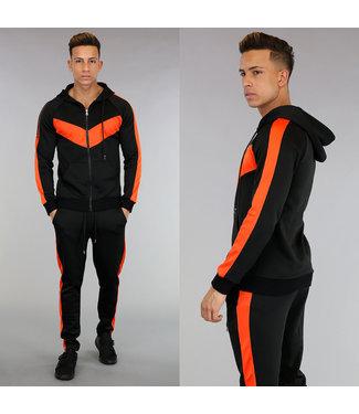 NEW! Zwart Joggingpak met Oranje Details