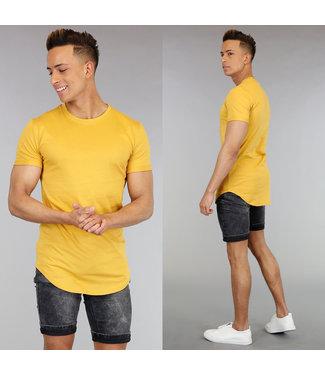 NEW! Casual Okergeel Shirt met Korte Mouwen