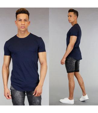 Casual Blauw Heren Shirt met Korte Mouwen