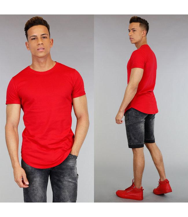 Casual Rood Heren Shirt met Korte Mouwen
