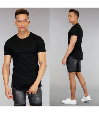 Casual Zwart Heren Shirt met Korte Mouwen