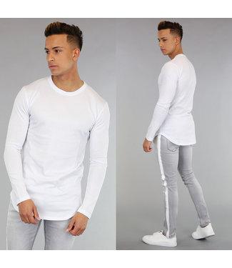 Casual Wit Shirt met Lange Mouwen