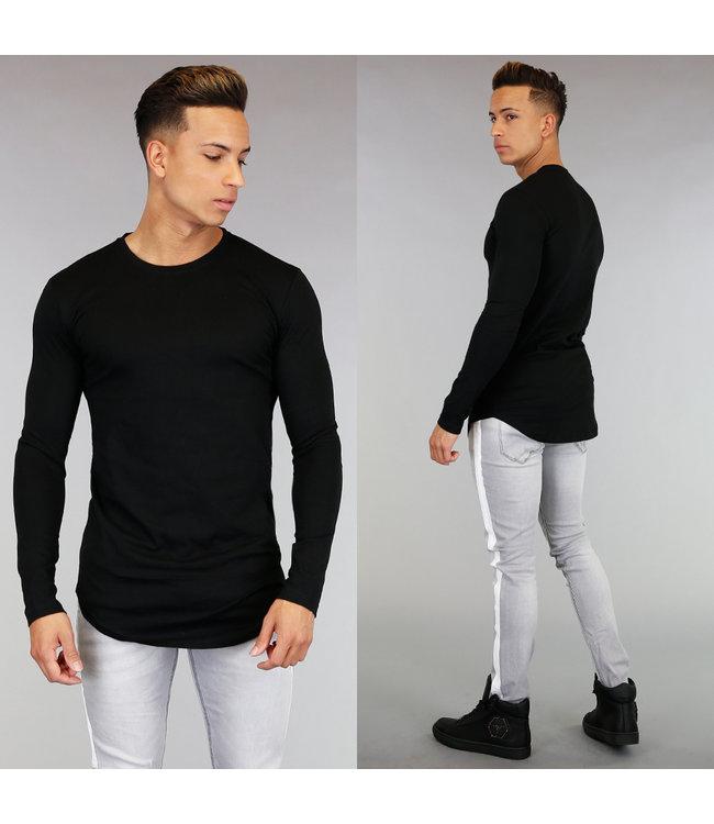 NEW! Casual Zwart Shirt met Lange Mouwen