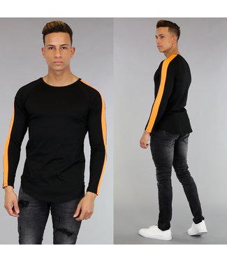 !SALE Zwart Longsleeve Heren Shirt met Oranje Strepen