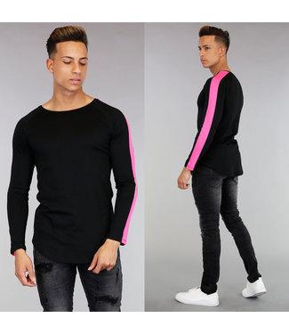 !SALE Zwart Longsleeve Heren Shirt met Roze Strepen