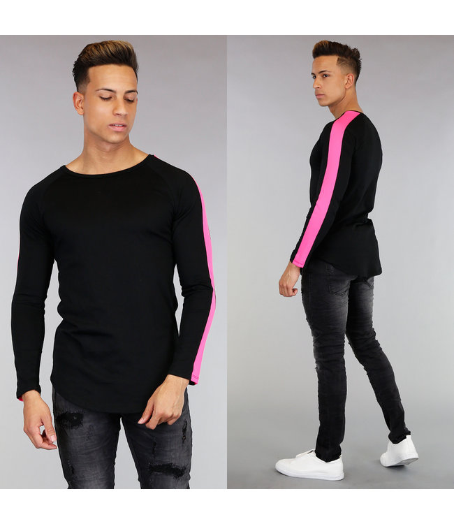 Zwart Longsleeve Shirt met Roze Strepen