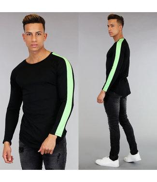 Zwart Longsleeve Shirt met Groene Strepen