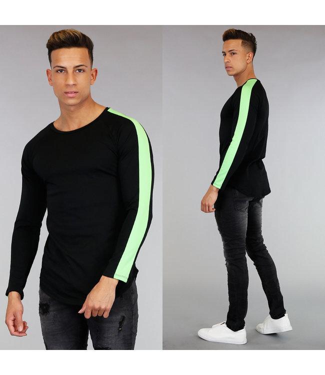!SALE Zwart Longsleeve Heren Shirt met Groene Strepen