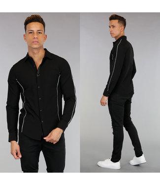 NEW! Zwart Overhemd met Witte Streep Details