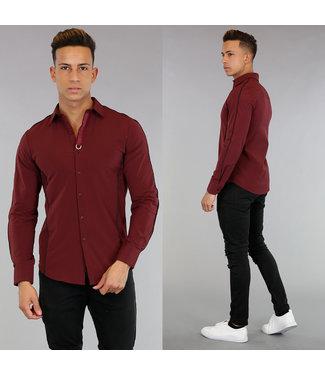 !SALE40 Bordeaux Heren Overhemd met Zwarte Strepen