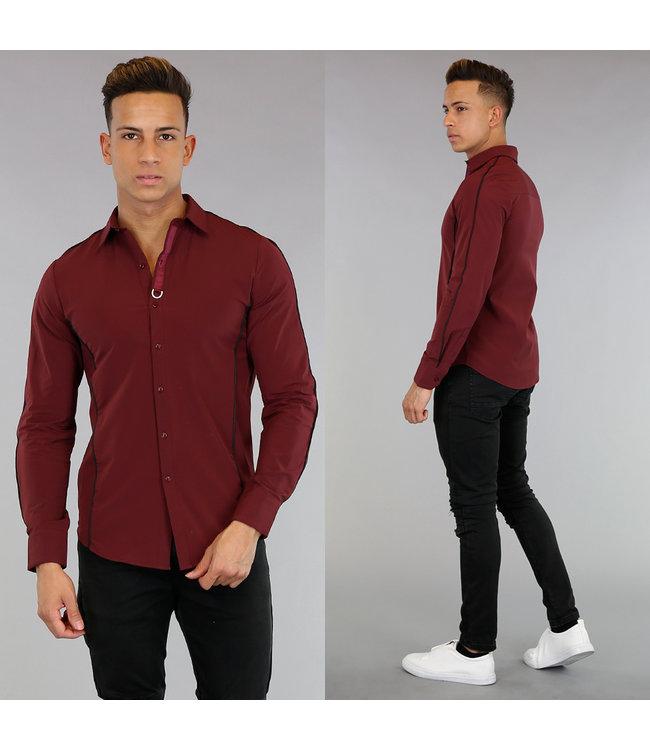 !OP=OP Bordeaux Heren Overhemd met Zwarte Strepen