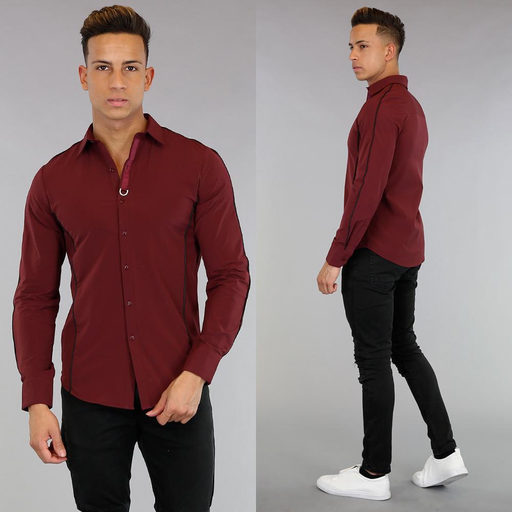 Bordeaux Overhemd.Bordeaux Overhemd Met Zwarte Streep Details Black Leo Nl