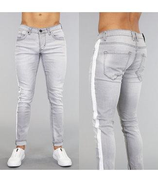 Lichtgrijze Slim Fit Jeans met Witte Strepen