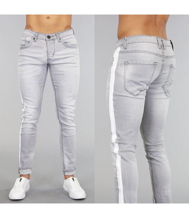 NEW! Lichtgrijze Slim Fit Jeans met Witte Strepen
