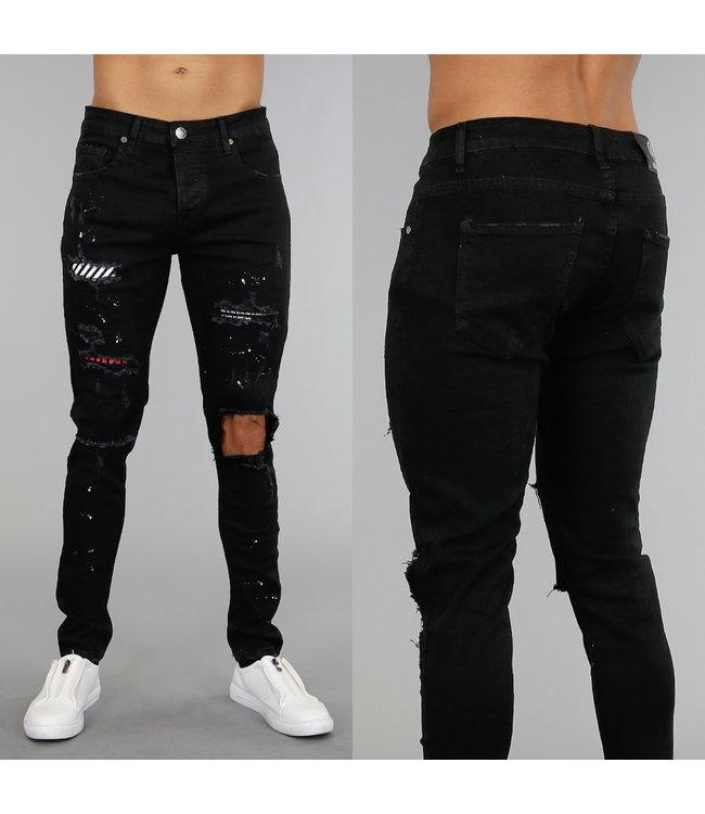 NEW! Zwarte Stretch Jeans met Scheuren en Verfspatten