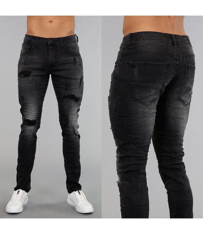 Grijze Light Washed Stretch Jeans met Scheuren