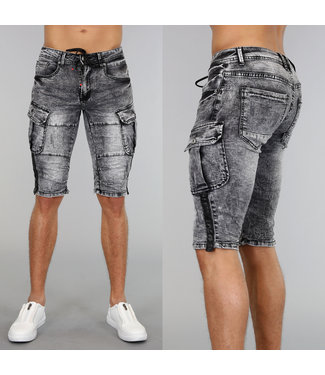 !OP=OP Grijs Acid Washed Heren Stretch Short met Veter