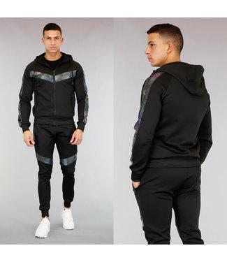 Zwart Heren Streetwear Trainingspak  met Laserstralen