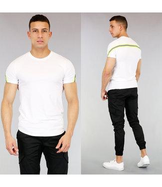 !SALE40 Wit Heren T-Shirt met Neon Gele Strepen