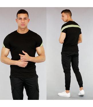 !SALE40 Zwart Heren T-Shirt met Neon Gele Strepen