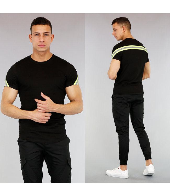 Zwart Heren T-Shirt met Neon Gele Strepen
