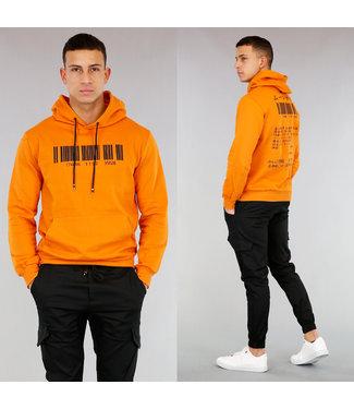!OP=OP Basic Oranje Heren Hoodie met Barcode