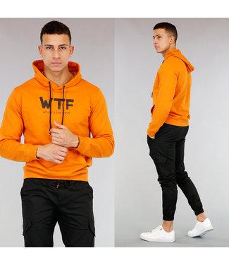 Basic Oranje Heren Hoodie met Tekst