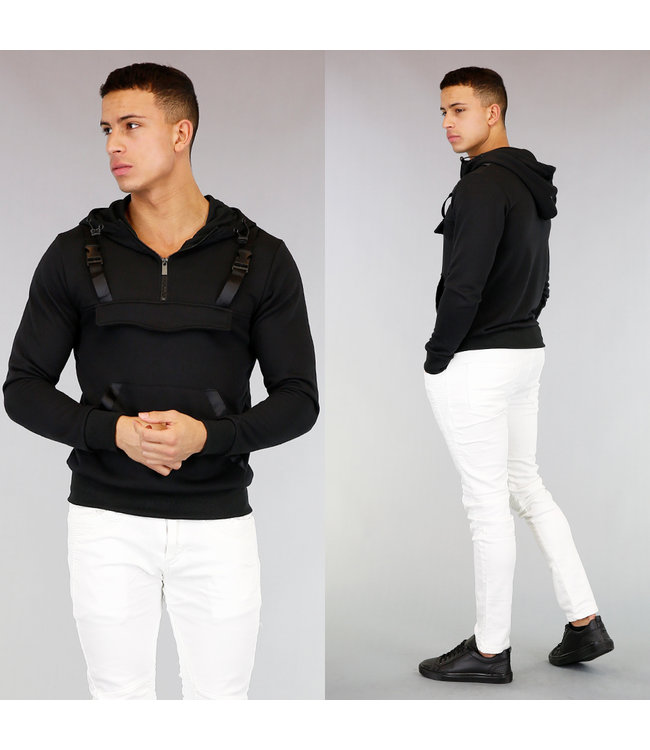 Zwarte Hoodie met Zipper en Kliksluiting