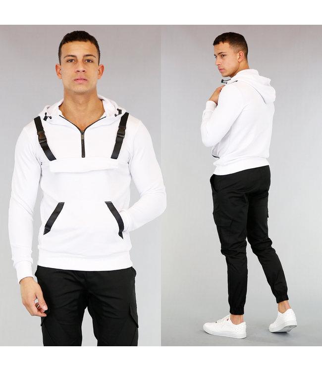Witte Heren Hoodie met Zipper en Kliksluiting