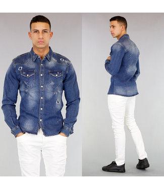 Jeans Blouse met Scheuren en Verfspatten