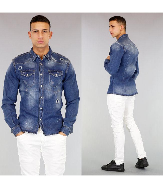 !OP=OP Jeans Heren Blouse met Scheuren en Verfspatten