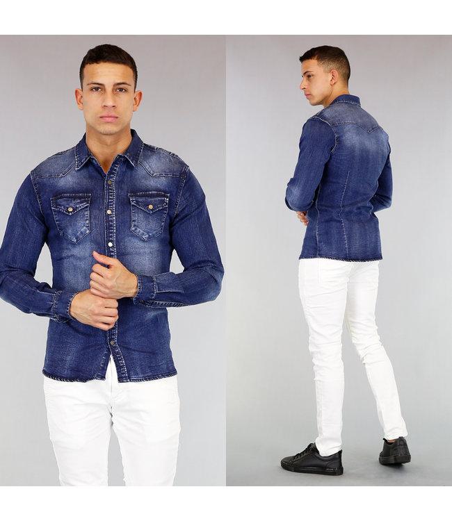 Donker Blauwe Jeans Blouse met Lichte Wassing