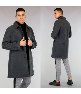 !OP=OP Halflange Grijze Heren Tailored Trenchcoat