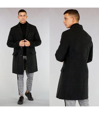 NEW! Halflange Zwarte Tailored Trenchcoat