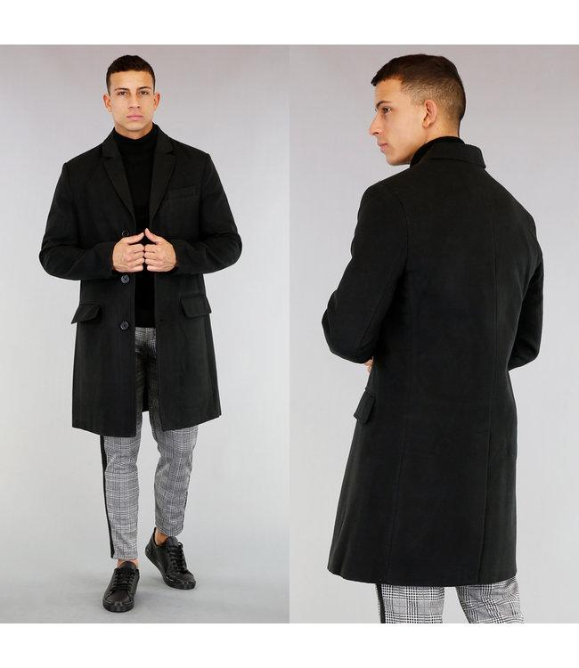 Halflange Zwarte Tailored Trenchcoat