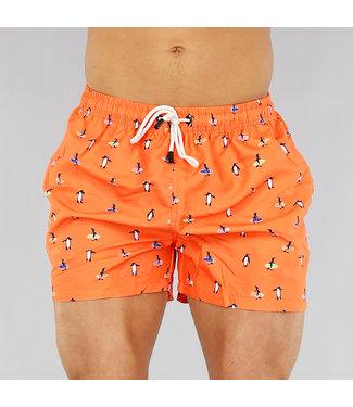 !OP=OP Oranje Heren Zwembroek met Pinguïns