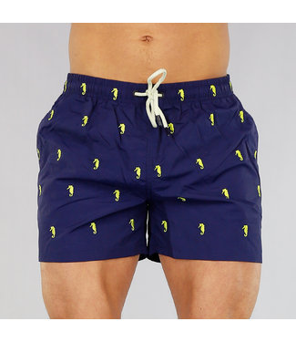 !OP=OP Donkerblauwe Heren Zwembroek met Zeepaardjes