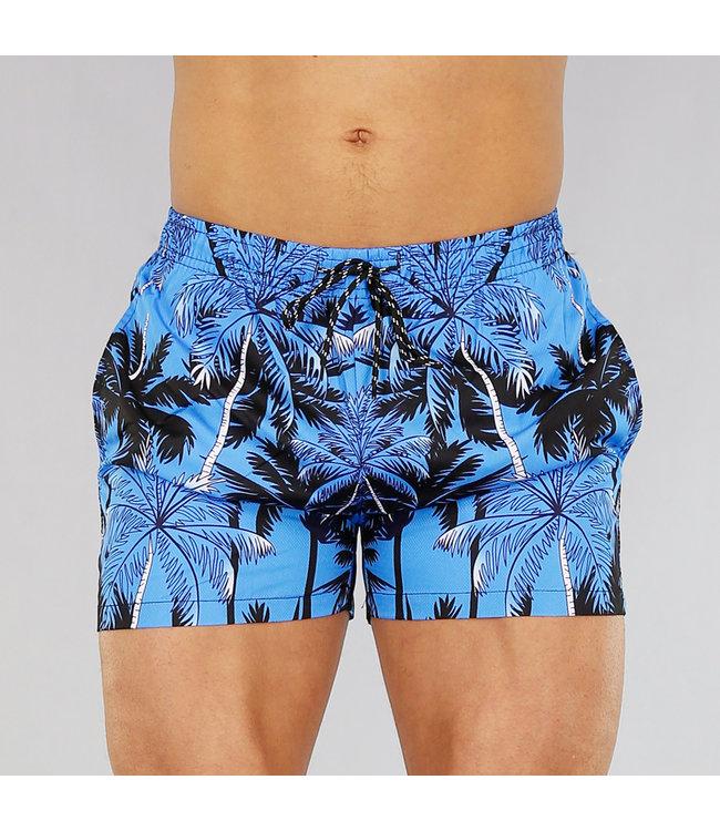 Blauwe Heren Zwembroek met Palmbomen