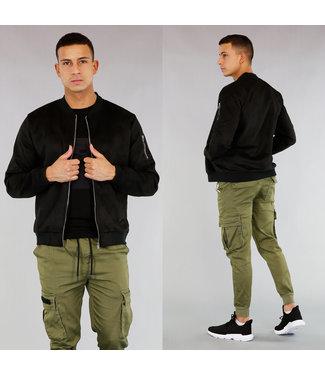 NEW! Zwart Suède-Look Heren Bomber Vest