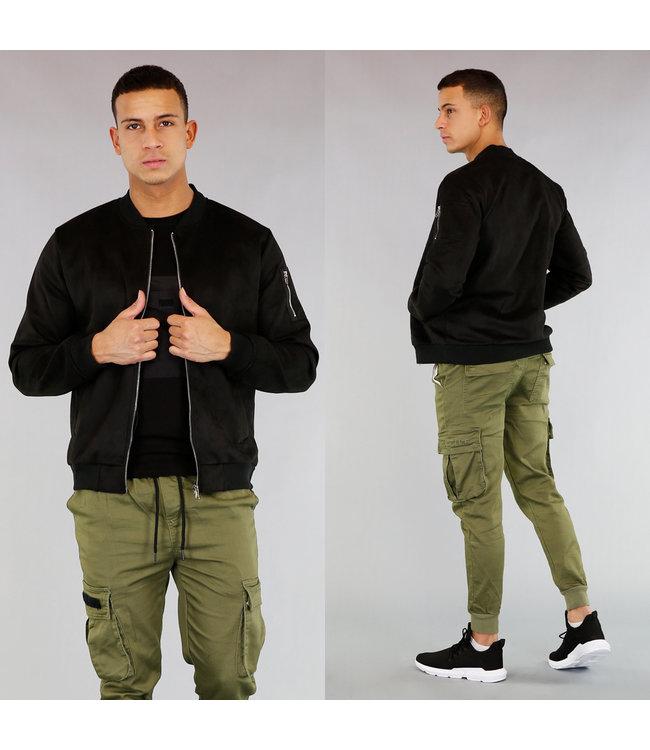 Zwart Suède-Look Heren Bomber Vest