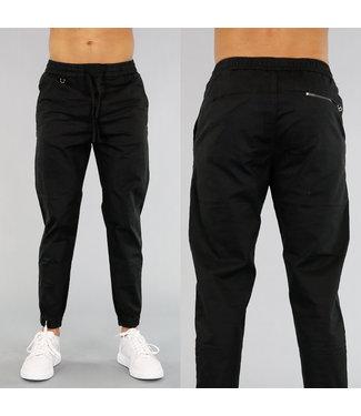 Zwarte Heren Pantalon met Vetersluiting