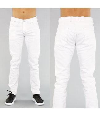 !OP=OP Basic Witte Heren Jeans met Krassen