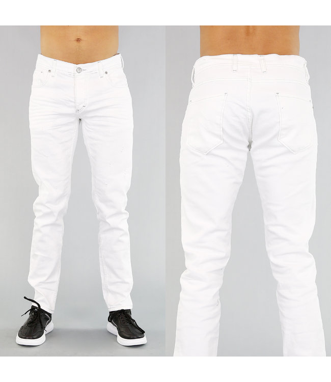 Basic Witte Heren Jeans met Krassen