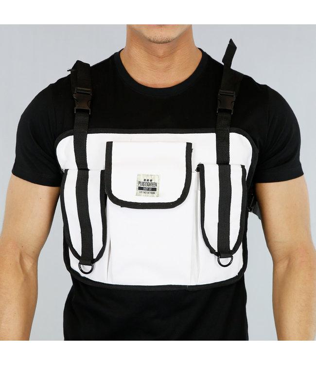 Witte Heren Multipocket Tas