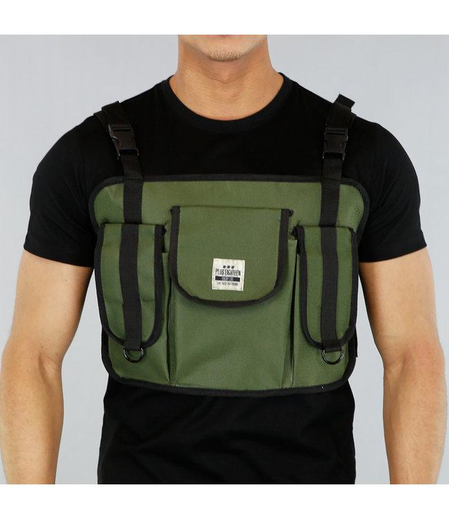 Groene Heren Multipocket Tas