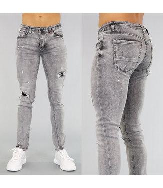NEW! Donkergrijze Heren Jeans met Verfspatten