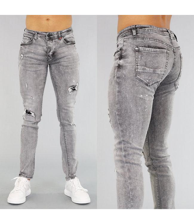 !OP=OP Donkergrijze Heren Jeans met Verfspatten