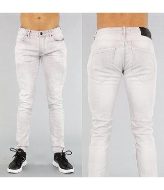 !OP=OP Lichtgrijze Heren Jeans met Krassen