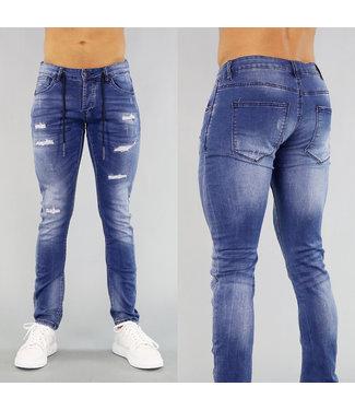 Blauw Heren Jeans met Vetersluiting